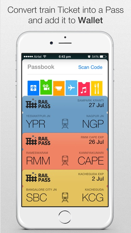 Rail Pass™ - IRCTC PNR status enquiry. Add Indian Railway train ticket to Passbook using RailPass.