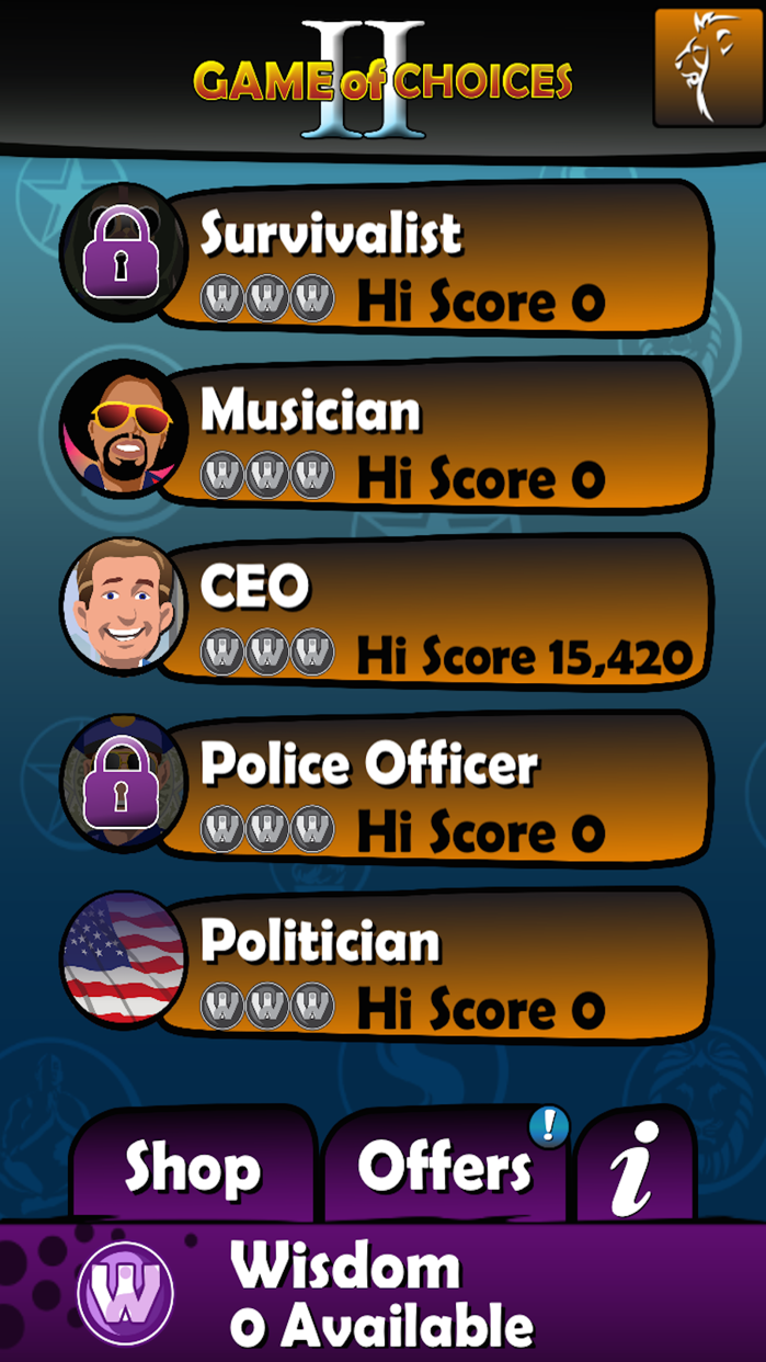 "GAME OF CHOICES II ""The career coach, life mentor, success guru & career test app"" Screenshot"