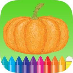Food Fruit Vegetables Coloring Book Free For Kindergarten and Kids