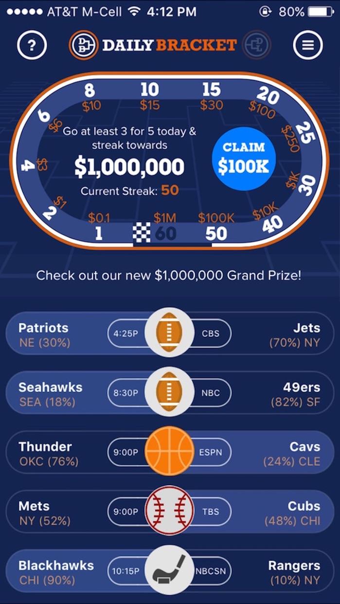 Daily Bracket: Sports Pick'em for Cash Prizes Screenshot