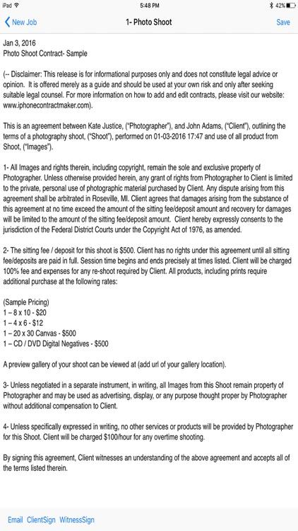 Photographers Contract Maker screenshot-3