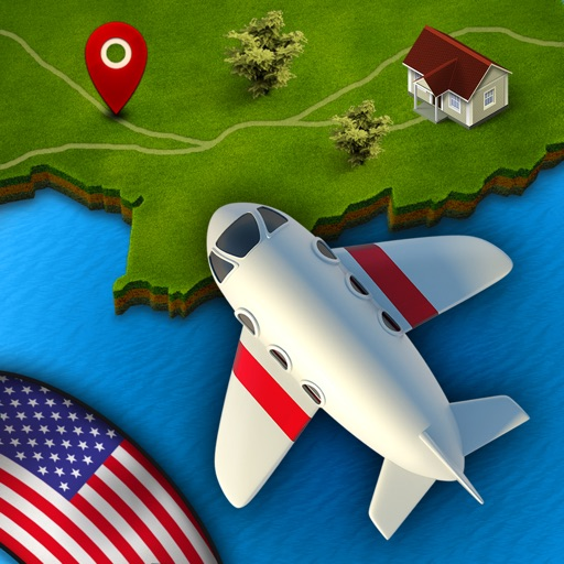 GeoFlight USA Free - Fun geography quiz game to learn states, cities and capitals of the United States