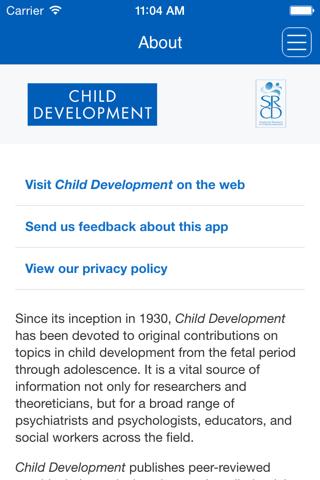 Screenshot of Child Development App