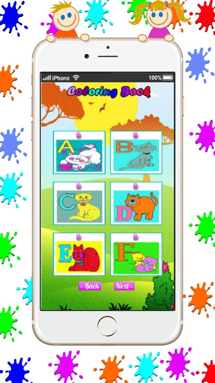 Kitty and Cat Coloring Book Game : Basic Start screenshot-1