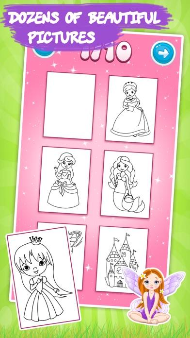 子供のためのプリンセスぬりえ本 - ドロー&ペイントスクリーンショット3