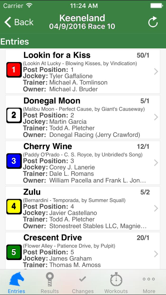 Equibase Today's Racing Screenshot