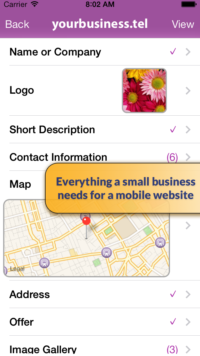Telnames Mobile Website Builder screenshot