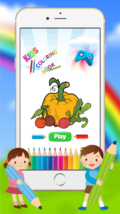 Vegetable & Fruit Coloring Book - Drawing Connect dots kids screenshot one
