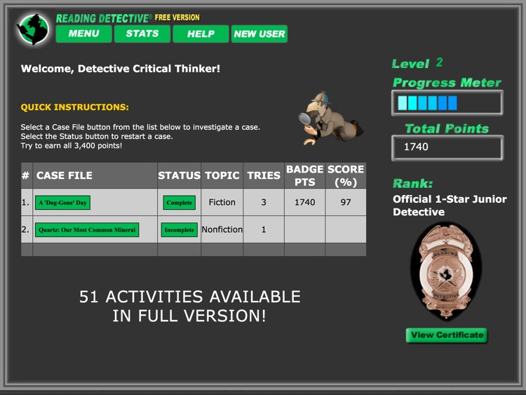 Reading Detective® A1 (Free)