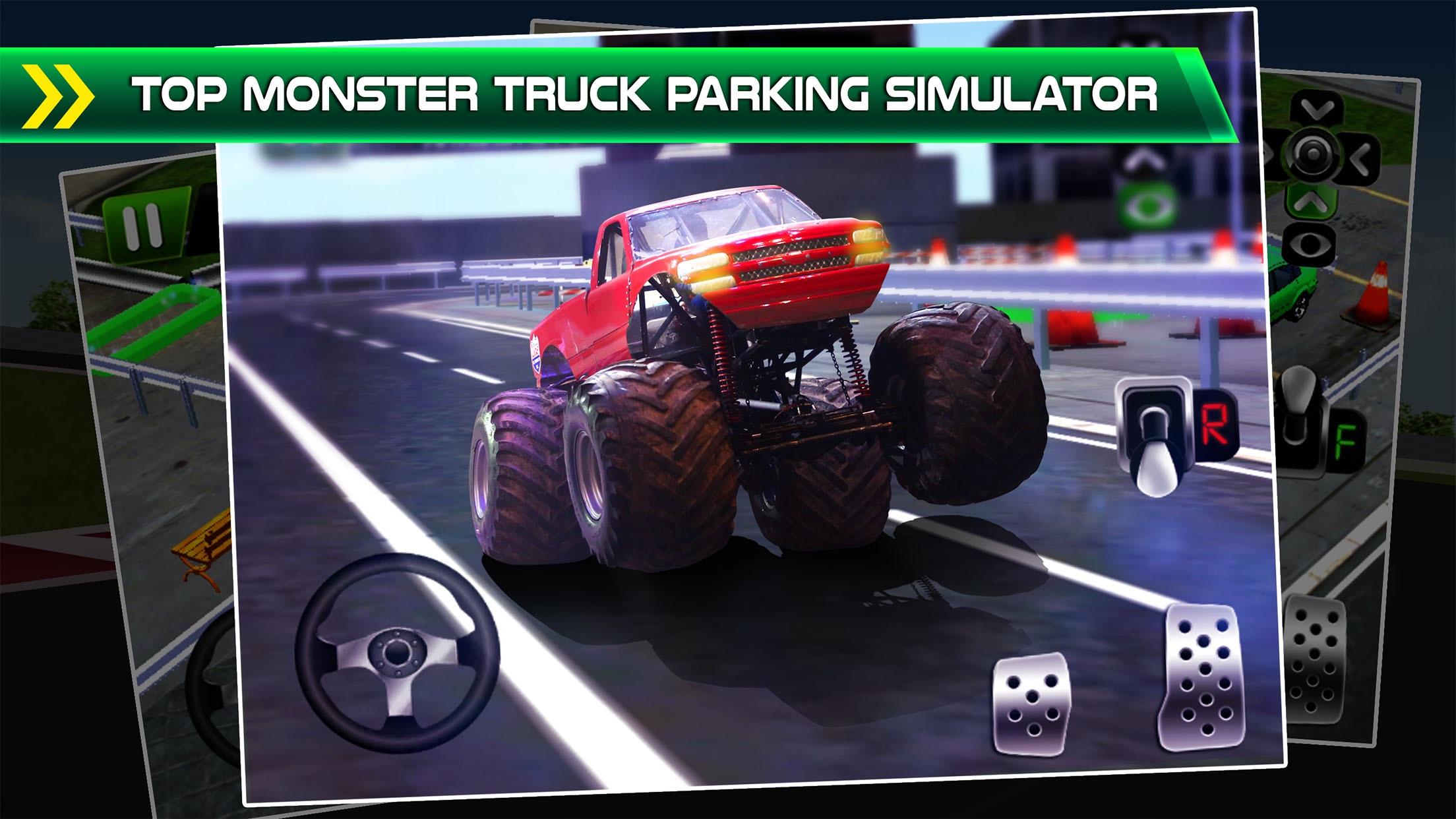 Monster Truck Parking Simulator - 3D Car Bus Driving & Racing Games Screenshot