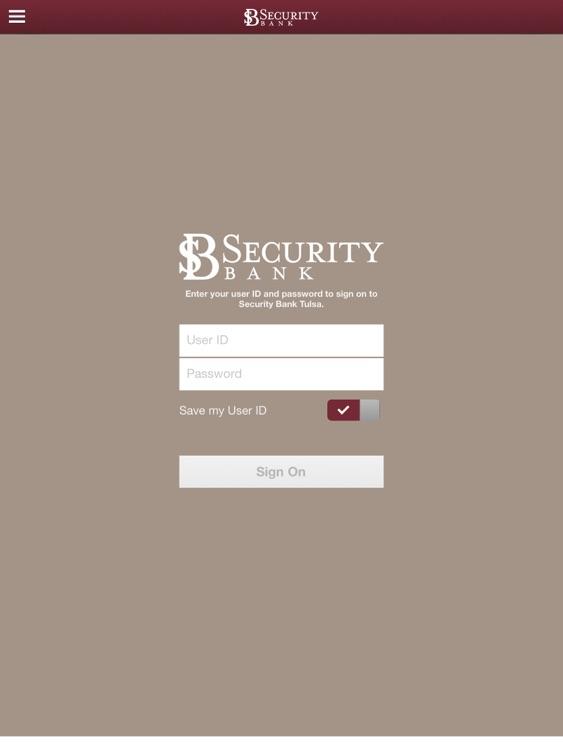 Security Bank Tulsa for iPad