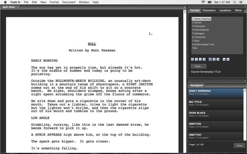 剧本及小说创作工具 Fade In for Mac