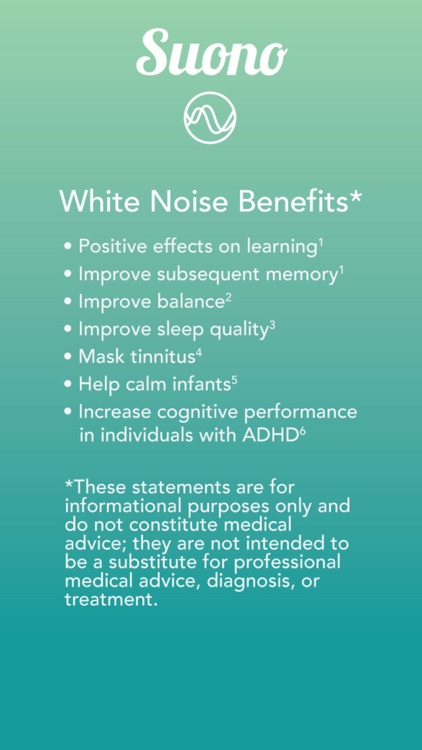Suono Noise Masking - Soothing white, pink, and brownian noise to aid power napping, meditating, chilling and concentrating