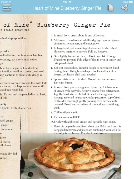 Baking - Pie Recipes for iPad