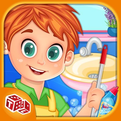 Дети грязная ванная Cleanup - Маленький Помощник Стиральные мамы и Очистка грязно туалет