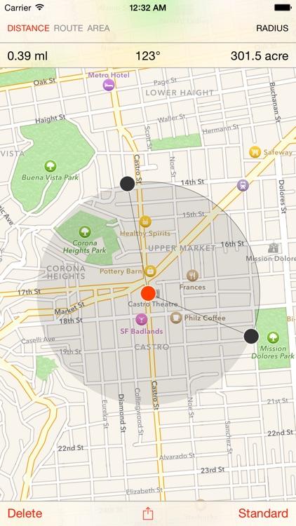 Map Tools - area, distance, radius and angle measurement screenshot-3