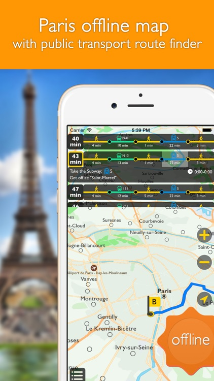 Paris offline map with public transport route planner for my journey