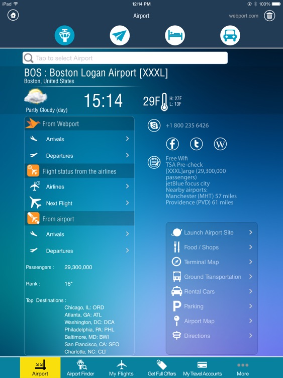 Boston Airport Pro HD + Flight Tracker Premium BOS Logan jetBlue