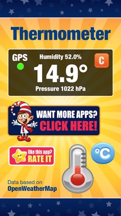 Digital Thermometer - Current Temperature in Celcius or Fahrenheit, Humidity, and Atmospheric Pressure Pyrometer