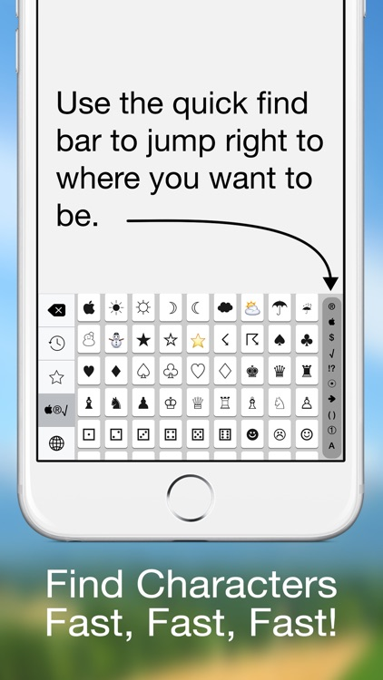 Special Characters Keyboard - (Symbols, Pictographs, Currency, Math, Punctuation, Bullets, Arrows, Parentheses & Numbers)