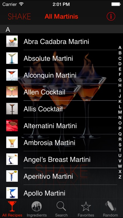 SHAKE : Martini Recipes screenshot-0