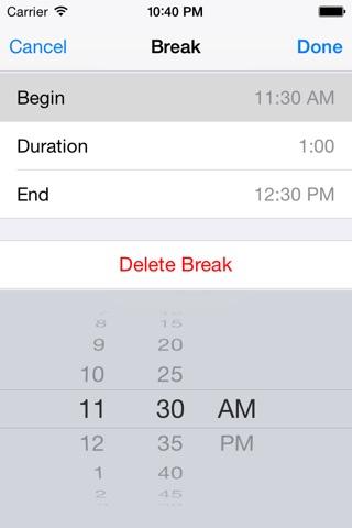 Screenshot of DueTime - Time Sheet