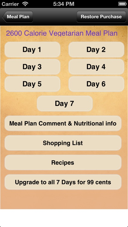 Meal Plans - Vegetarian 7 Day Meal Plans