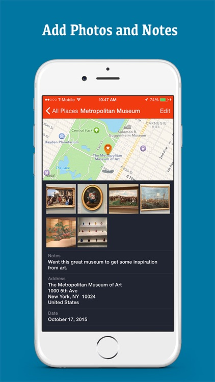 Places Bookmark - Save Locations on Map, Photo, Notes, Address Folder