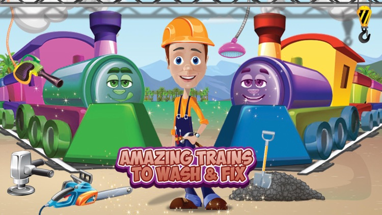Kids train wash & repair – Fix locomotive in this mechanic