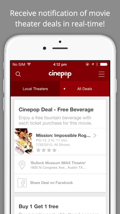Cinepop - Showtimes, Deals, and Discounts for Movies at Theaters screenshot