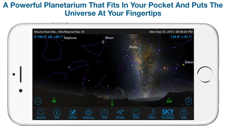 SkySafari 4 Pro: Professional Telescope Astronomy!  Explore Sun, Moon, Mars, Stars, Planets, and Satellites!  Go where NASA space missions have not! screenshot-0