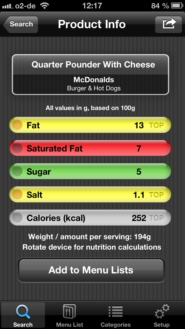 Fast Food Restaurant Nutrition Menu Finder, Calories Counter, Weight Calculator & Tracking Journal (Free) Screenshot