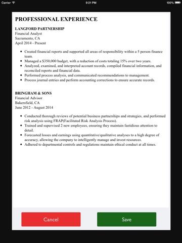 ... Screenshot #3 For Free Resume Builder App   Professional CV Maker And  Resumes Designer ...