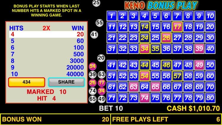 Keno Bonus Play