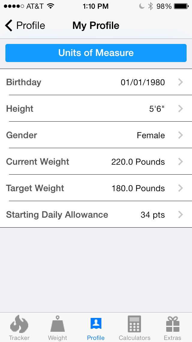 pts calculator with weight and exercise tracker for weight loss