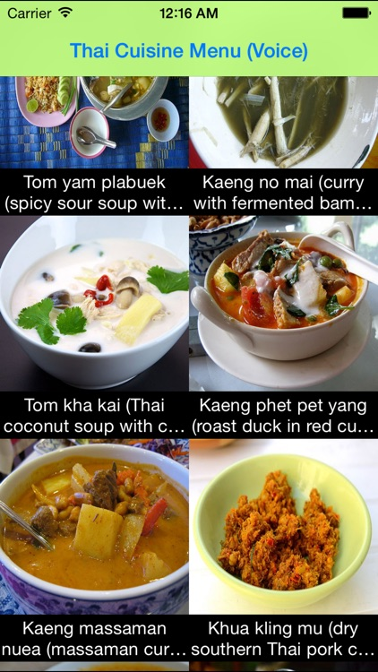 Thai Food Menu (thai voice)