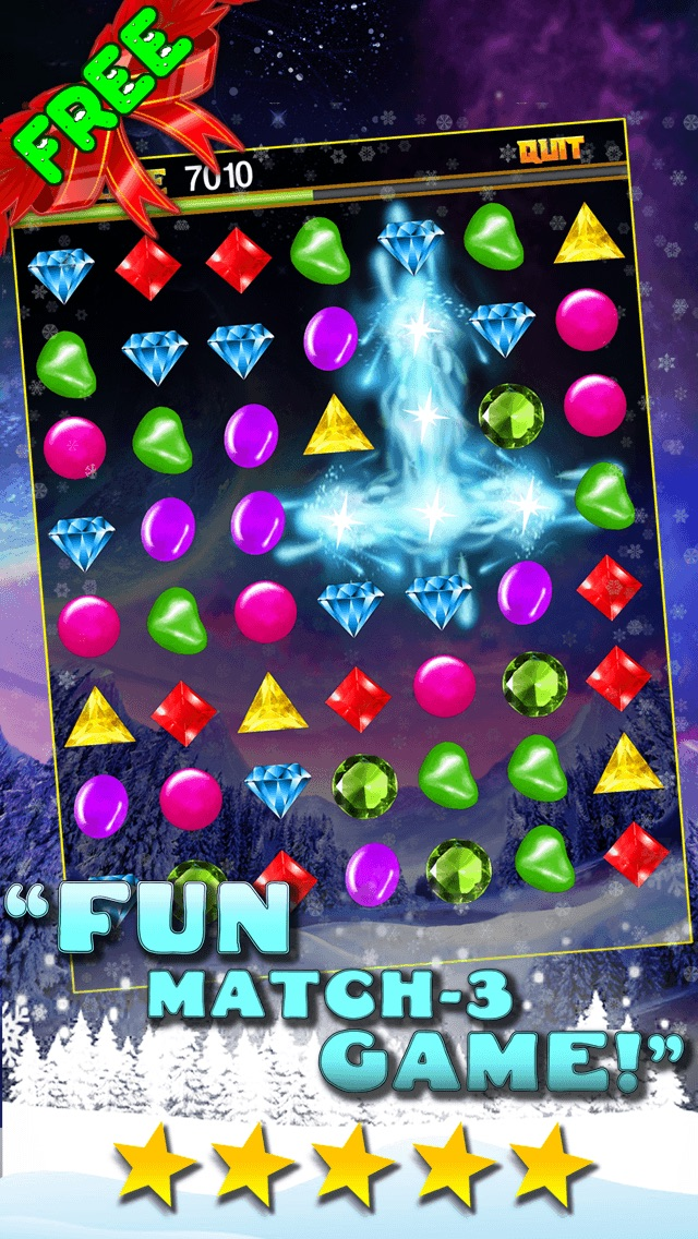 Jewel Games Candy Christmas 2013 Edition - Fun Candies and Diamonds Swapping Game For Kids HD FREE Screenshot