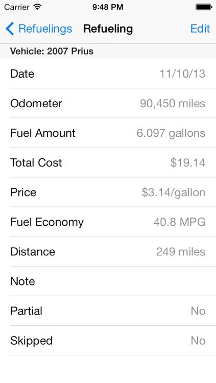 Mileage Keeper (gas mileage / fuel economy tracker)