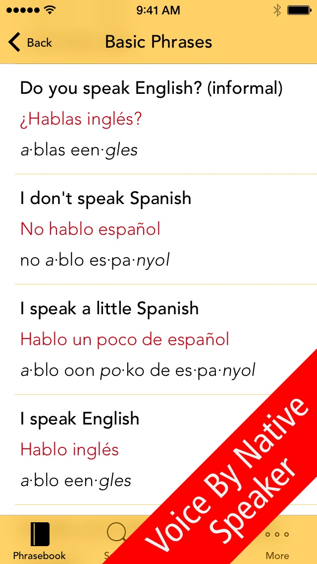 SpeakEasy Spanish Lite ~ Free Travel Phrases with Voice and Phonetics Screenshot on iOS