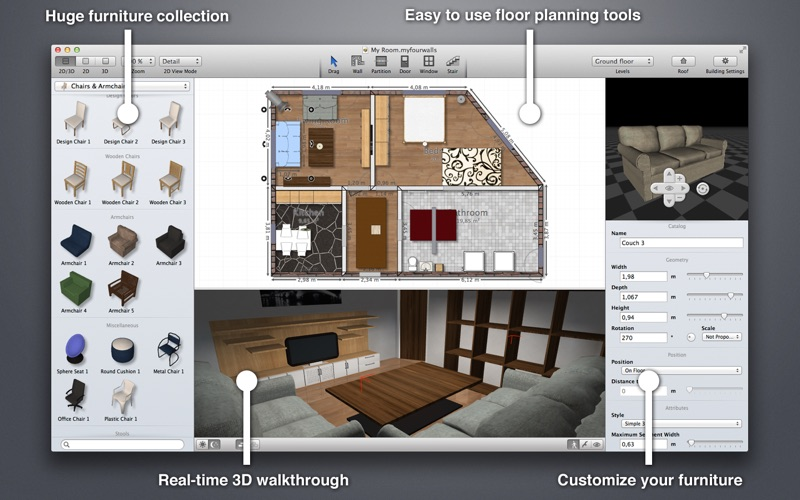 3D家庭个性化设计软件 MyFourWalls for Mac