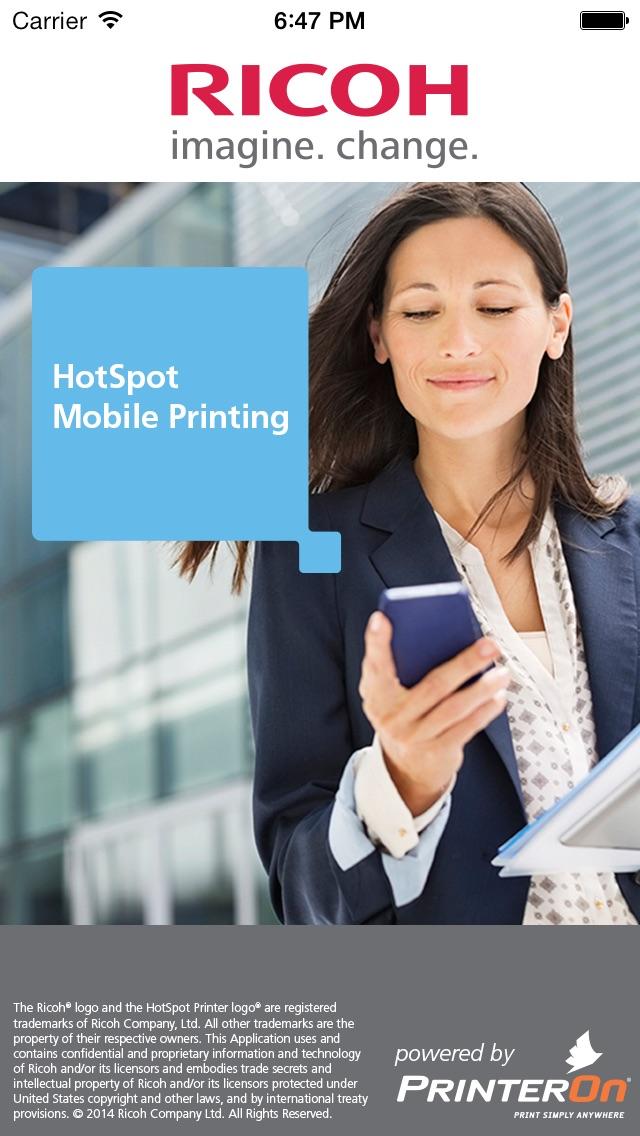 Hotspot Printing Screenshot on iOS