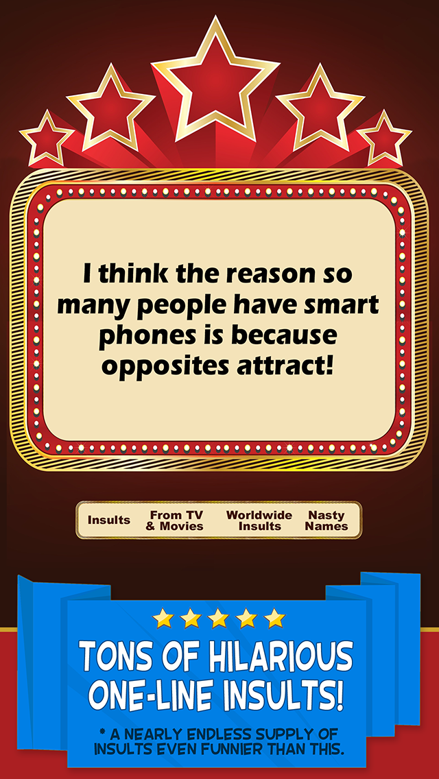 Joke Insults - Funny Comebacks, Mean Wisecracks & Rude Humor Screenshot on iOS