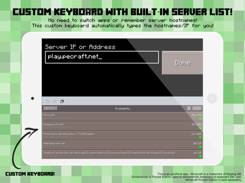 Pe Servers Custom Keyboard For Minecraft Pocket Edition App Price Drops