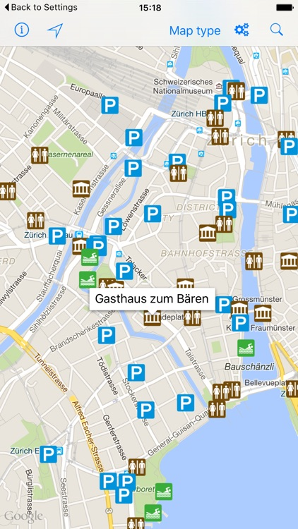 Leisuremap Switzerland, Camping, Golf, Swimming, Car parks, and more