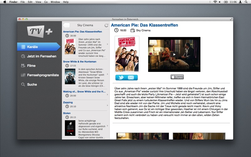 Fernsehen in Österreich скриншот программы 1