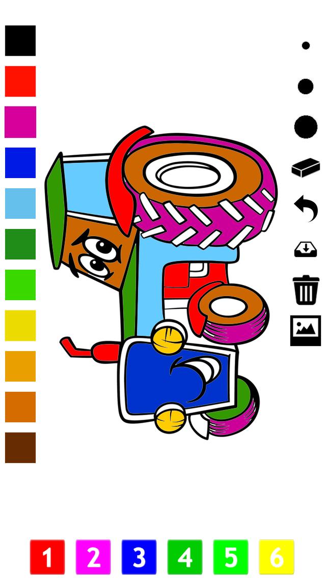 塗り絵の本 子供のための車:レーシングカー、バス、トラクター、トラックなどのような多くの写真とともに。絵を描画する方法:学習するゲームのおすすめ画像1