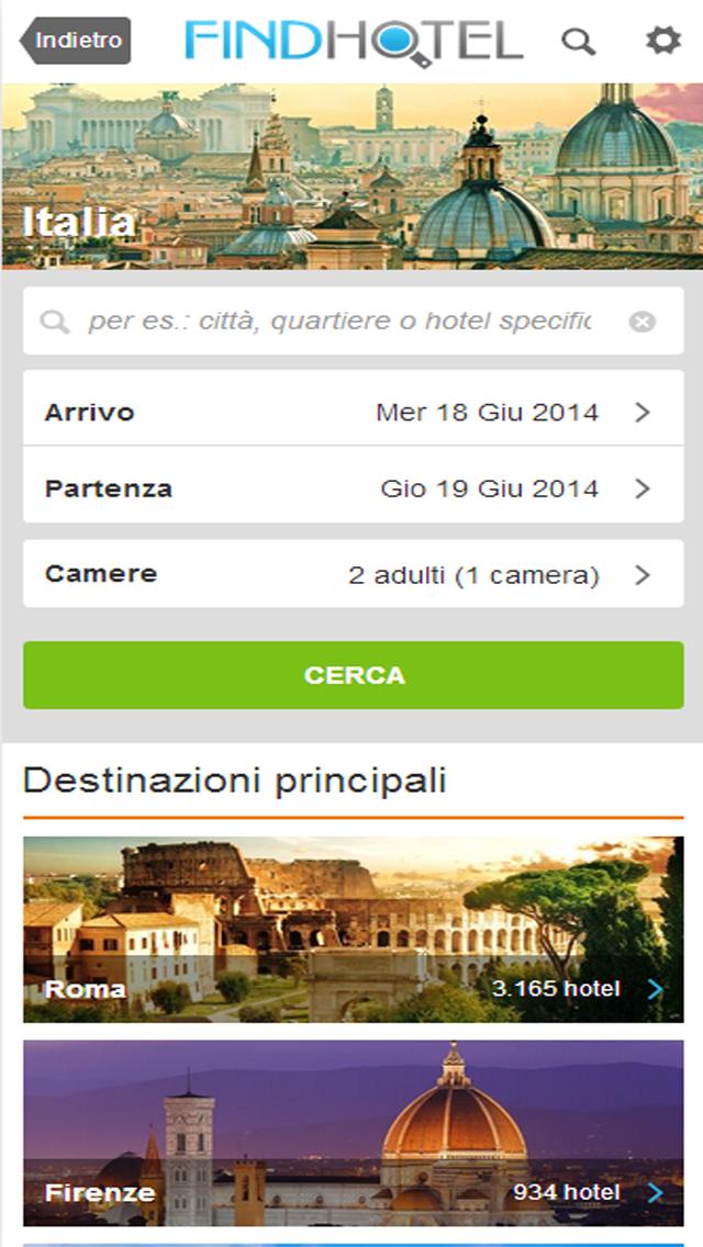 Screenshot of Ricerca Hotel - FindHotel è l'app che confronta i prezzi di alberghi e strutture in tutto il mondo: prenotazioni facili e veloci per soggiorni economici o di lusso, ostelli e B&B, per un weekend o per questa sera, grazie alle offerte last minute!1
