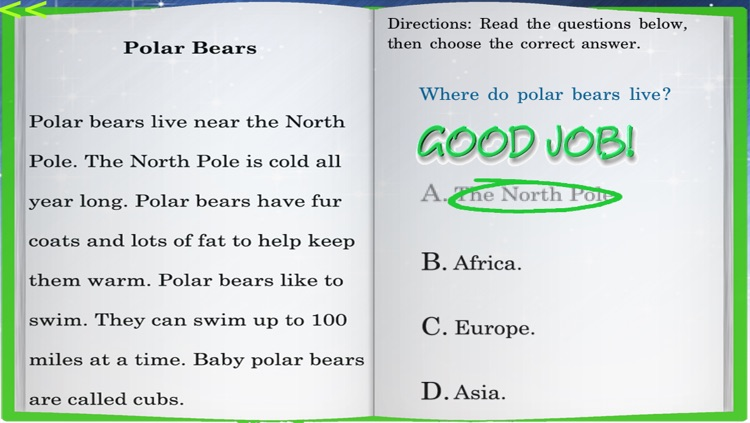 Kids Reading Comprehension Level 1 Passages For iPhone screenshot-3