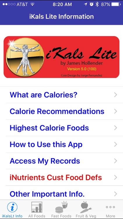 iKals Lite - iNutrient: Calories screenshot-0