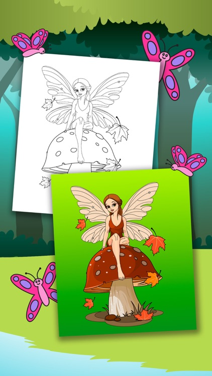 Fairy Coloring Book – Color and Paint Drawings of Fairies Educational Game for Kids Premium